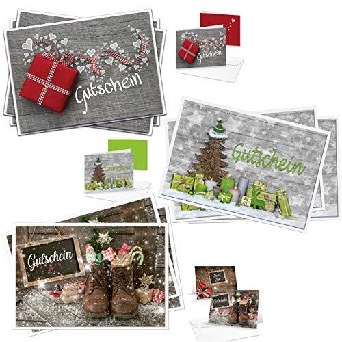 Logbuch-Verlag Zestaw 3 x 3 bonów świątecznych 3 motywy bożonarodzeniowe karty bonowe z KUVERTS DIN A6 składane kartki puste do zapisywania bony upominkowe