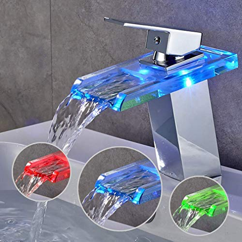 BONADE Rubinetto Bagno Cascata con RGB LED Miscelatore Monocomando in Ottone e Vetro, adatto per Lavabo e Bagno