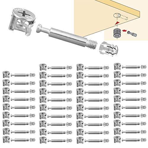 BITEFU 40 Set Möbelverbinder Exzenter schrankverbinder Ø15mm Einschraubdübel für Spleißen Von Möbel Kabinett Tischschränken(M6x40mm,Zinklegierung)