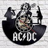 XZXMINGY 12 Pulgadas Reloj de Pared de Disco de Vinilo Vintage Diseño Moderno Clásico 3D Decorativo ACDC Rock Band Relojes Reloj de Pared Decoración para el hogar para música Lov
