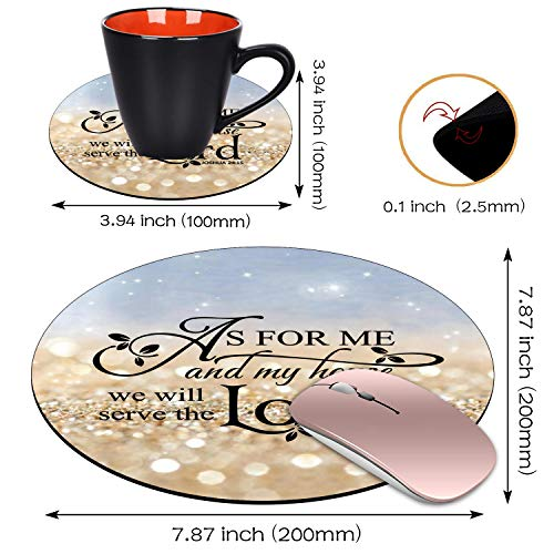 BWOOLL Round Mouse Pad and Coasters Set, Rainbow Glitter Mouse Pad, Quote Christian Bible Verses Joshua 24:15 Mouse Pad, Non-Slip Rubber Base Mouse Pads for Laptop and Computer Photo #4