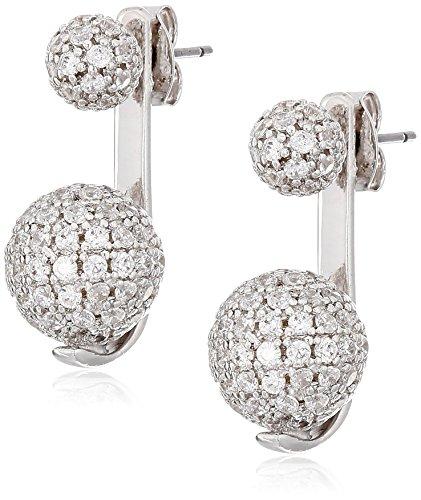 nOir Jewelry Rhodium Pave Sphere Earrings Jackets