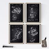 Nacnic Negro - Pack de 4 Láminas con Patentes de Fotografía. Set de Posters con inventos y Patentes Antiguas. Elije el Color Que Más te guste. Impreso en Papel de 250 Gramos de Alta Calidad