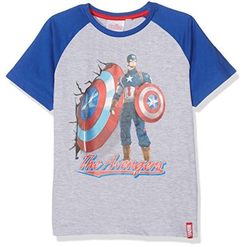 Marvel Avengers M Maglietta, Grigio (Grey Grey), 9-10 Anni Bambino
