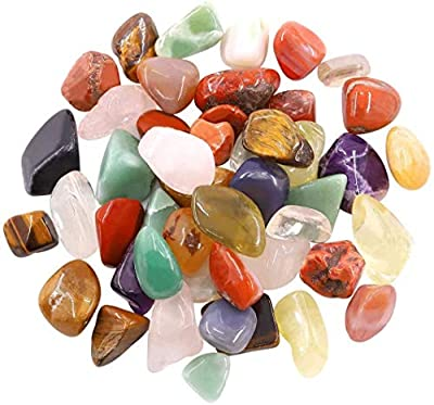 1.1 lb Quartz Stones Tumbled Chips Stone Crushed Crystal Natural Rocks Healing Home Indoor Decorative Gravel Feng Shui Healing Stones for Healing, Reiki, Chakra & Wicca, Assorted Stones(About 500g)