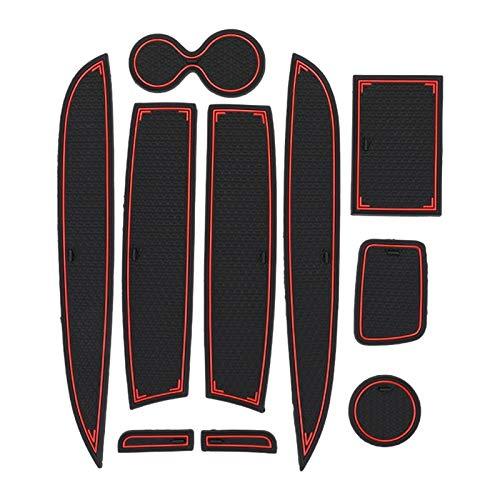 KAPAYONO 10 PièCes Tapis de Rainure de Porte pour Clio 4 DéCoration IntéRieure Anti-DéRapant Porte Fente Tasse Pad Voiture Style Rouge