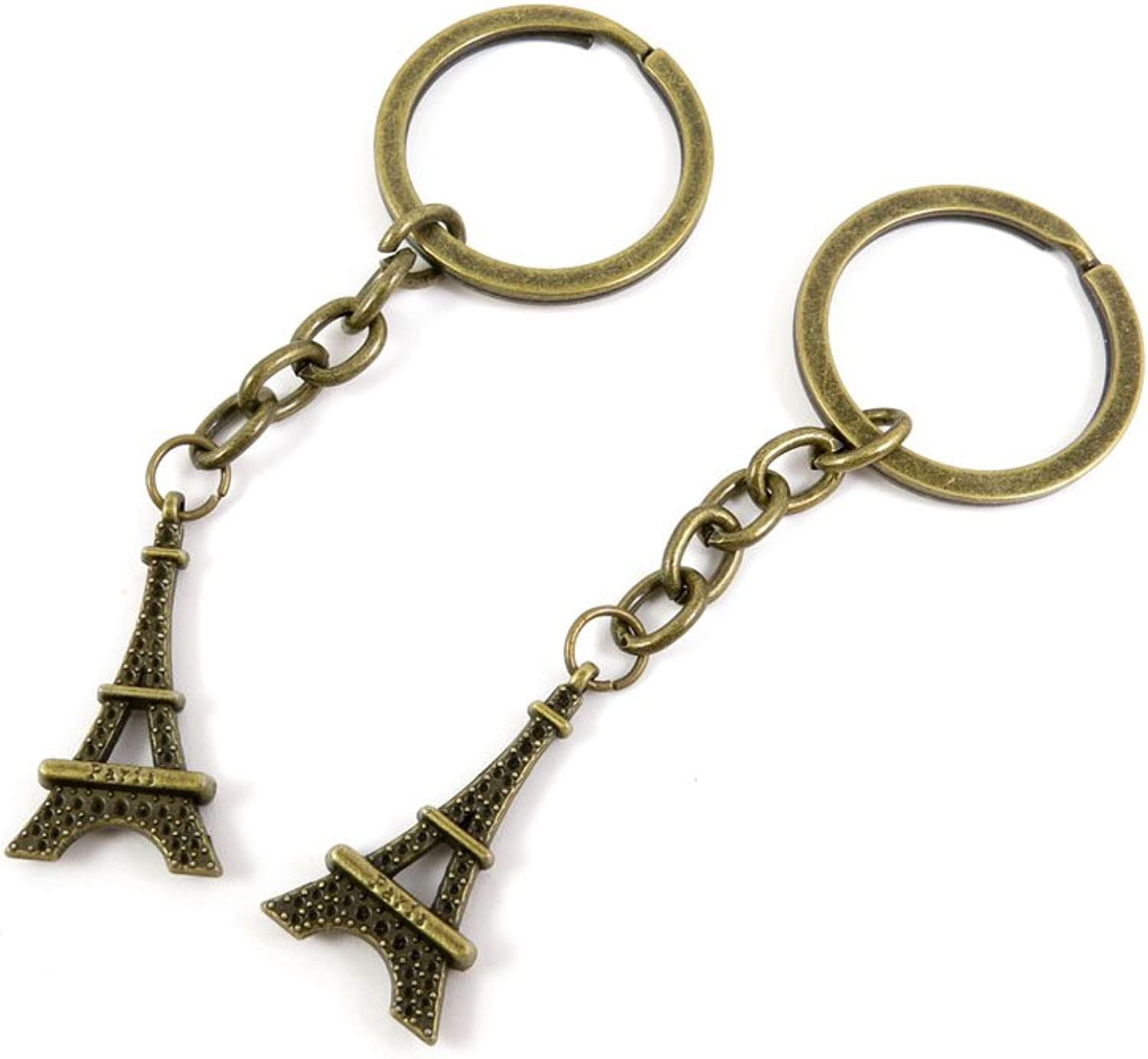 100 PCS Keyrings Keychains Key Ring Chains Tags Jewelry Findings Clasps Buckles Supplies X5OM6 Paris Eiffel Tower