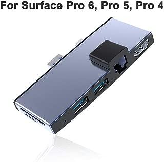 Surfacekit for Microsoft Surface Pro 6/ Surface Pro 5/ Surface Pro 4. Surface Pro Dock with Proprietary Interface - Ethernet LAN - HDMI (4K@30Hz) - 2 x USB 3.0 - SD/Micro SD Card Slot- Aluminum Shell