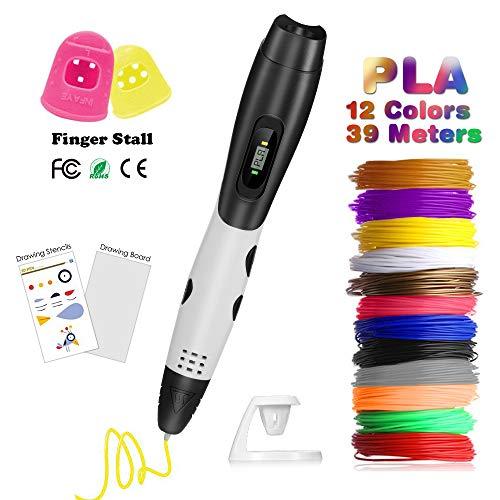 Pluma 3D Fede, Lápiz 3D con[12 Rollo Filamento de PLA ]en 12 Colores de 1,75mm Cada Uno de...