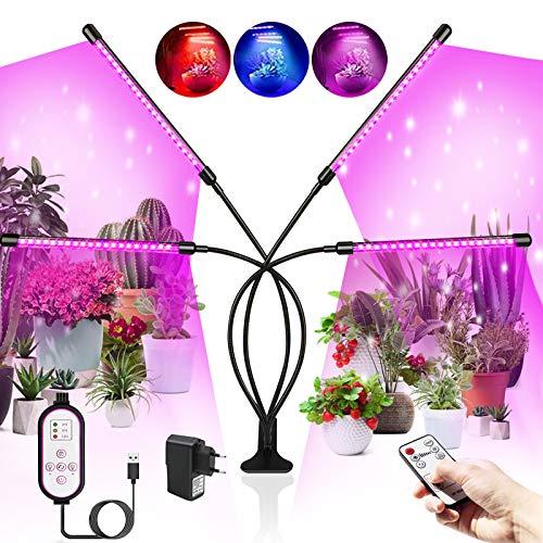 Ashmita Pflanzenlampe LED 360 Grad Verstellbarer,80 LEDs Vollspektrum Pflanzenlicht,Dimmbar 10 Lichtstärken Tageslichtlampe Pflanzen,Mit Timer und RF Controller