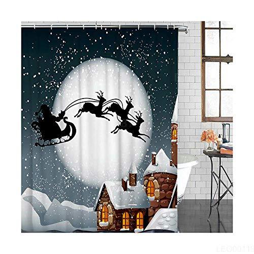 Duschvorhang Extra Lang (150 X 180 cm) Antischimmel Waschbar Stoff Vorhang Badezimmer Polyester Weihnachten Mit Duschvorhang Haken Für Badezimmer Badewanne Dusche