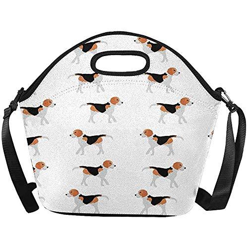 Picknick Tas, Grote Geïsoleerde Neopreen Lunch Tas Beagle Honden Lunchbox Handtas met Schouderband