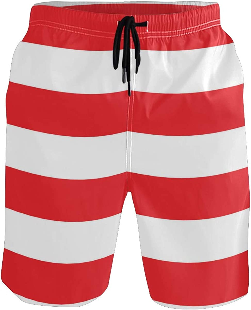 AHOMY Men's Quick Dry Swim Trunks with Pockets Red and White Striped Beach Swimwear Board Shorts