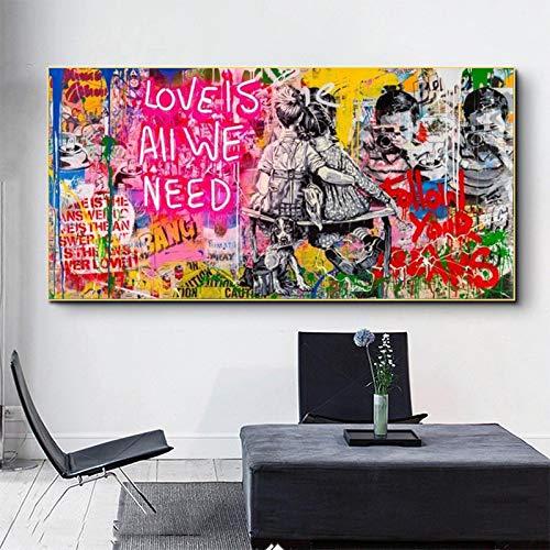 CHMIJ Druck auf Leinwand Liebe ist Alles was wir brauchen Banksy Poster und Drucke Graffiti Kunst Bild für Wohnzimmer Home Wanddekoration 70x140cm Rahmenlos