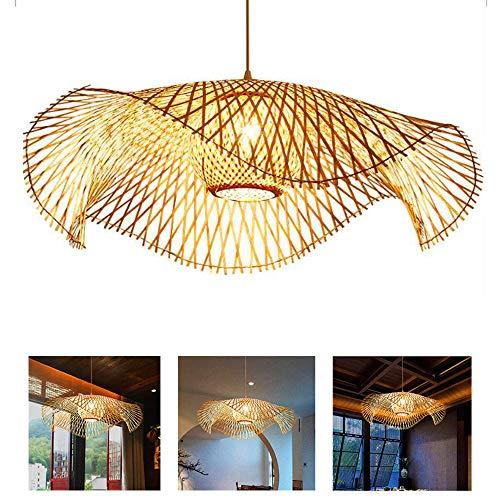 E27 Lámpara Colgante Lámpara De Araña Mimbre Natural Tejida A Mano Bambú Pantalla Creativas Candelabro Colgantes Para Restaurante Dormitorio Cocina Pasillo Comedor Oficina Luces,75cm