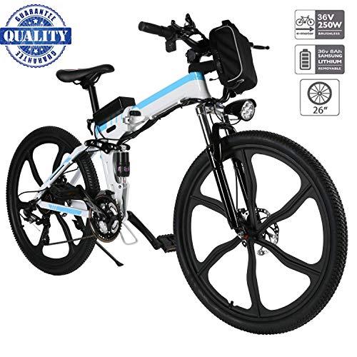 Hiriyt Vélo Electrique 26' E-Bike - VTT Pliant 36V 250W Batterie au Lithium de Grande Capacité - Ville léger Vélo de avec moyeu Shimano 21 Vitesses (Blanc 3, 26 Pouces)