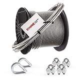 Seilwerk STANKE Cuerda de acero galvanizado en cubierta de PVC 40m, Cuerda de acero con diámetro 4mm 6x7, 2x guardacabo, 4x abrazadera - SET 1