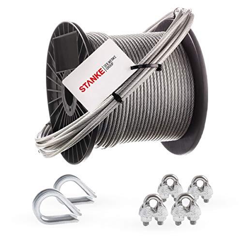 Seilwerk STANKE Rankhilfe PVC Drahtseil ummantelt verzinkt 100m Stahlseil 4mm 6x7, 2x Kausche, 4x Bügelformklemme - SET 1