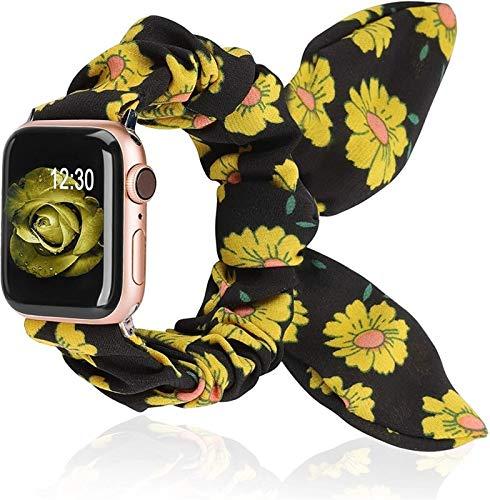CGGA Reloj Strap Scrunchies Strunkies Strap for Apple Watch Butterfly Bow Cloth Girls 38mm 40mm 42mm 44mm Correa de Ocio para iWatch 5/4/3/2/1