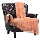Chanasya Peach Pink Throw Blanket with Tassels - Acrylic Knitted Super Soft Fluffy Warm Cozy Lightweight Chic Boho Blanket for Bed Sofa Chair Couch Cover Living Bed Room (50x65 Inches) Coral