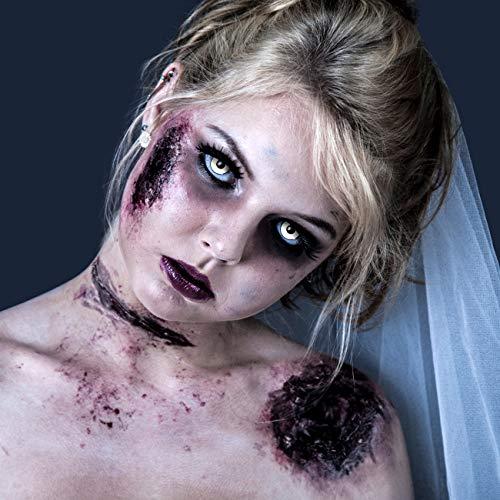 3-Monatslinsen WHITE MANSON, weiße Zombie Kontaktlinsen, Crazy Funlinsen, Halloween, Fastnacht, weiß - 5