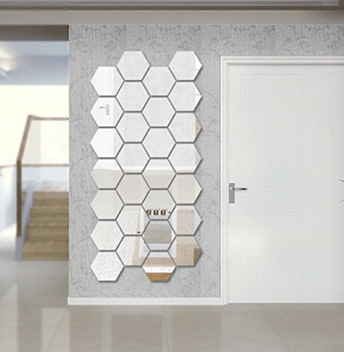 Wall1ders Dakshita Acrylic 3D Hexagon Mirror Wall Stickers for Home (Silver, 5x5 inch-each) - Pack of 28