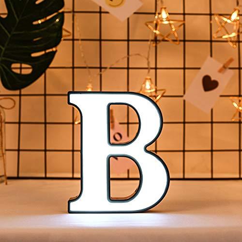 Ruiqas Luces LED para carta, 26 letras del alfabeto, luces de noche, para casa, fiesta, cumpleaños, boda, confesión bar, decoración, LED con batería, lámpara para casa (B)
