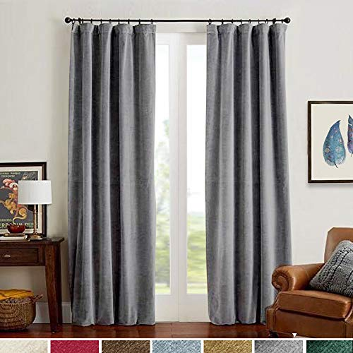 Velvet Curtains 95 Inch Thermal Insulated Long Grey Room Darkening Gray for Bedroom Moderate Window Curtain for Living Room Rod Pocket Single Width 1 Pair