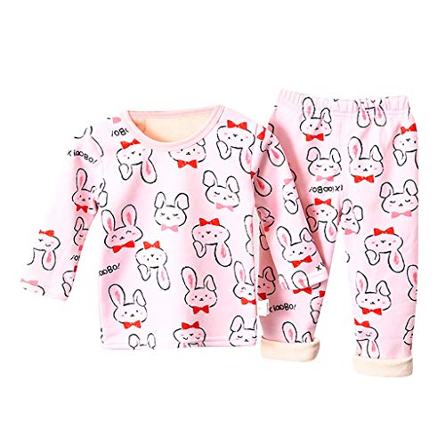 Toddlers Animal Print Sleepwear Shirt Kids Baby Boys Girls Cartoon Tops+Pants Pajamas Outfits Pink