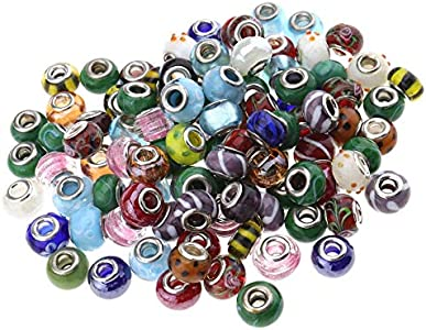 YINETTECH Juego de 100 cuentas espaciadoras de cristal con agujeros grandes, para pulseras, collares, manualidades