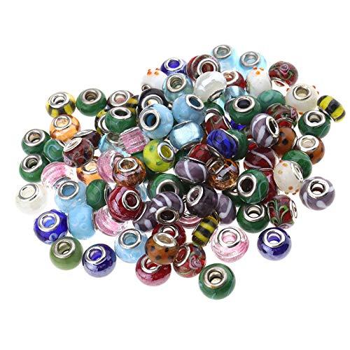 YINETTECH 100 Stks Grote Gat Glas Spacer Kralen Verschillende Kit Bedels Armbanden Ketting Sieraden Maken Ambachten DIY
