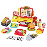 WEEK BEAN Toy Cash Register for Kids - Calculator Play Register with Handheld Real Scanner, Live Microphone and Play Food - Great Gift for Boys Girls Toddlers, 56 Pieces, 3 Years +