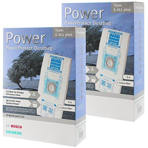 Bosch Typ G PowerProtect Mikrofasertuch-Staubsaugerbeutel + Filter (10er-Pack)