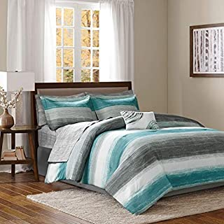 Aqua Blue & Grey Watercolor Cottage Beach House Coastal Cal King Comforter (9 Piece Bed in A Bag)