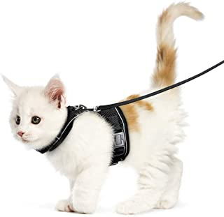 rabbitgoo Cat Harness and Leash for Walking,  Escape-Proof No Choke Reflective Vest Harnesses for Small Cats,  Kitten Harness with Magic Tapes and Double Clips for Safety Outdoor Activity