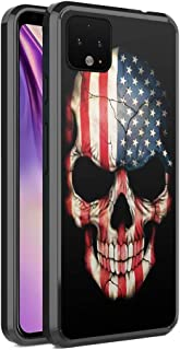 Moriko Case Compatible with Pixel 4 [Cute Fusion Hybrid Designed Anti Scratch Slim Thin Soft TPU Grip Black Case Protective Cover] for Google Pixel 4 Released in 2019 (USA Flag Skull)