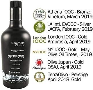 2018 Award Winner Henri Mor 16.9 Fl Oz Spanish Extra Virgin Olive Oil Early Harvest 100% Arbequina Single Variety