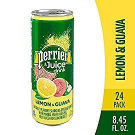 Perrier Fusions, Lemon and Guava Flavor, 8.45 Fl Oz Cans (24 Count) 3 45 calories per can Naturally flavored and lightly sweetened with fruit juices Feel the refreshment of Perrier water and bubbles with a touch of real peach and cherry fruit juices
