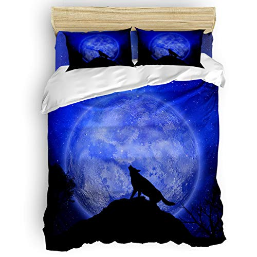 Clouday Queen Size 4 Piece Duvet Cover Sets with Zipper Home Decor,The Shadow of Wolf Moon Pattern Bed Sets,Comfortable and Easy Care,Include 1 Duvet Cover 1 Bed Sheets 2 Pillow Case