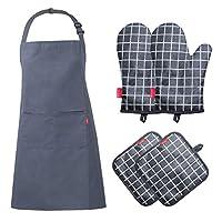 esonmus set con 5 pc,grembiule impermeabile da uomo e donna+2 guanti da forno silicone+2 presine, per cucina, cucina, forno, barbecue(grigio)