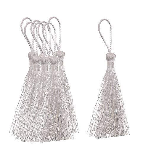 ZMYY 25 Pcs Handmade Tassels Graduation Cap Tassel Silky Soft Craft Tassels for Jewelry Making DIY Projects Bookmarks Keychain (White)