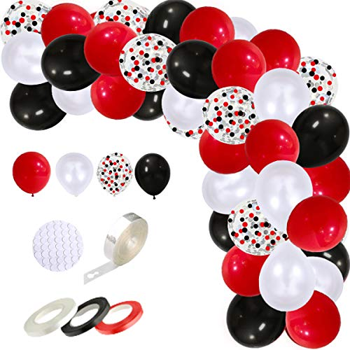DIY Circus Balloon Arch Garland Kit  Black Red White Latex Balloons 12 Inch Red Black White Confetti Balloon 16ft Arch Strip 100 Dot Glue 3PCS Ribbon for Birthday Casino Quinceanera Graduation Party