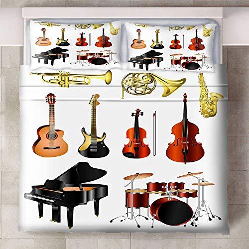 Teqoasiy - Duvet Cover Juego De Cama Matrimonio - Instrumentos Musicales Pianos Guitarras Batería 229x229cm Impreso En 3D - Funda De Edredón De Microfibra Suave - Poliéster Funda De Edredón 3 Piezas
