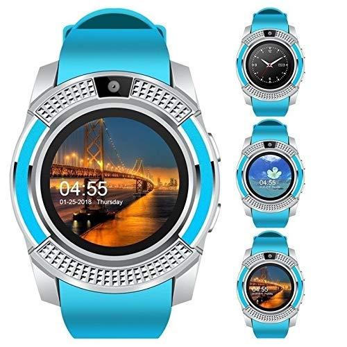 SOHOH Mann-Bluetooth-Sport der intelligenten Uhr-V8 beobachtet Frauen-Damen-Rel gio Smartwatch mit Kamera-SIM-Kartensteckplatz-Android-Telefon (Farbe : Blau)