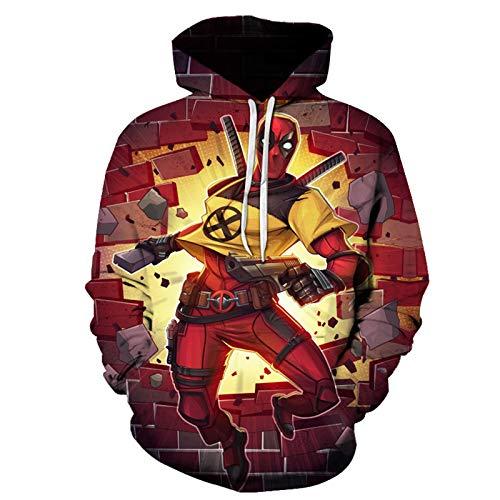 GYMAN Kind Erwachsene Superheld Deadpool Hoodies 3D-Druck-windundurchlässiges PulloverHoodies Cosplay Sweatshirts, Für Weihnachten Geburtstagsgeschenk, Outdoor, Reisen,B-110