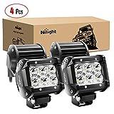 Nilight - 60001S-C LED Light Bar 4PCS 18W 1260lm Spot LED Pods Driving Fog Light Off Road Lights Bar Jeep Lamp,2 years Warranty