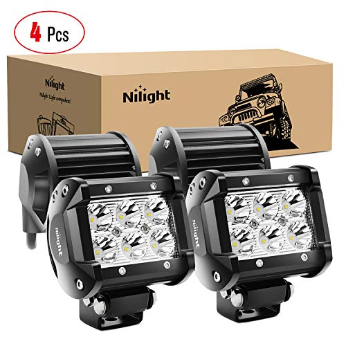 Nilight - 60001S-C LED Light Bar 4PCS 18W 1260lm Spot LED Pods Driving Fog Light Off Road Lights Bar Jeep Lamp,2 years Warranty