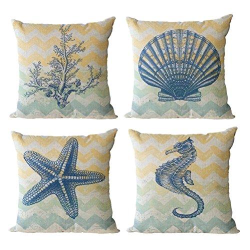 Gspirit 4 Pack Oceano Tema Acuario Algodón Lino Throw Pillow Case Funda de Almohada para Cojín 45x45 cm (C)