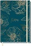 Notizbuch A5+ kariert mit Gummiband [Goldblüte] von Trendstuff by Häfft | 156 Seiten | als Bullet Journal, Tagebuch, Notizheft | nachhaltig & klimaneutral
