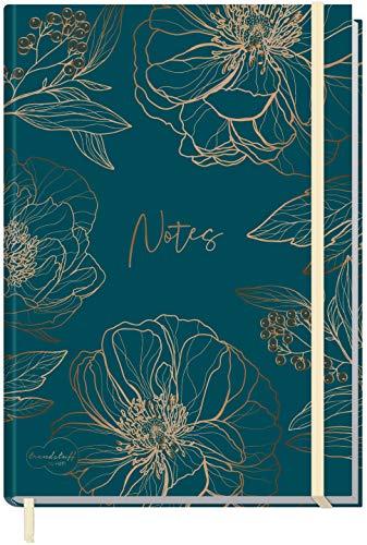 Notizbuch A5+ kariert mit Gummiband [Goldblüte] von Trendstuff by Häfft | 156 Seiten, 78 Blatt | als Bullet Journal, Tagebuch, Notizheft | nachhaltig & klimaneutral